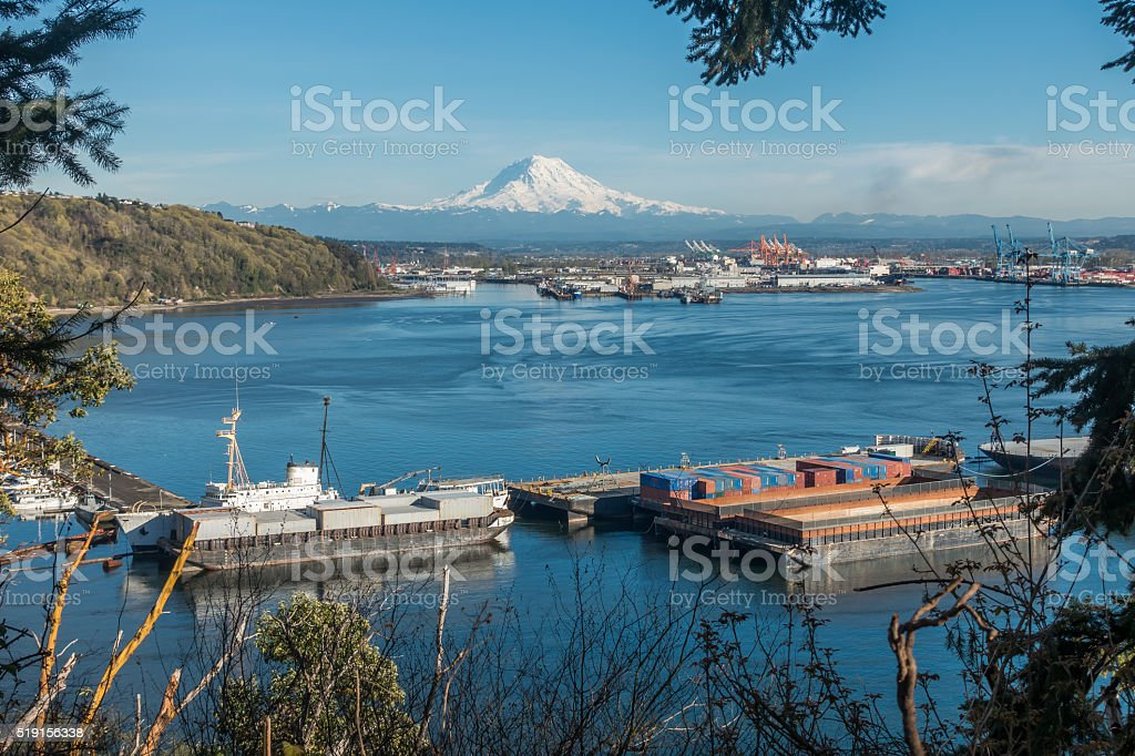 Rainier and Port Panoramic 4 stock photo