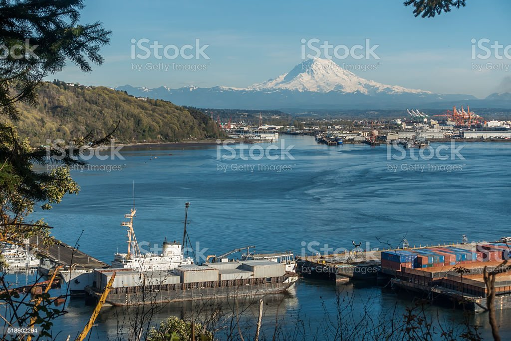 Rainier and Port Panoramic stock photo