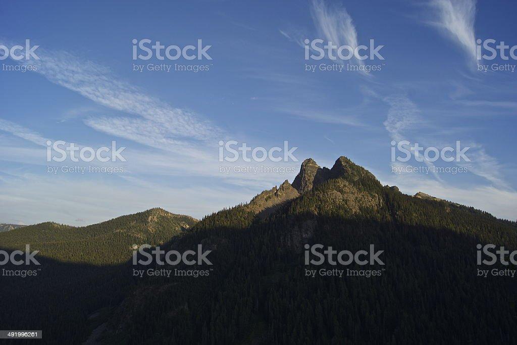 Rainier Rugged Sunset stock photo