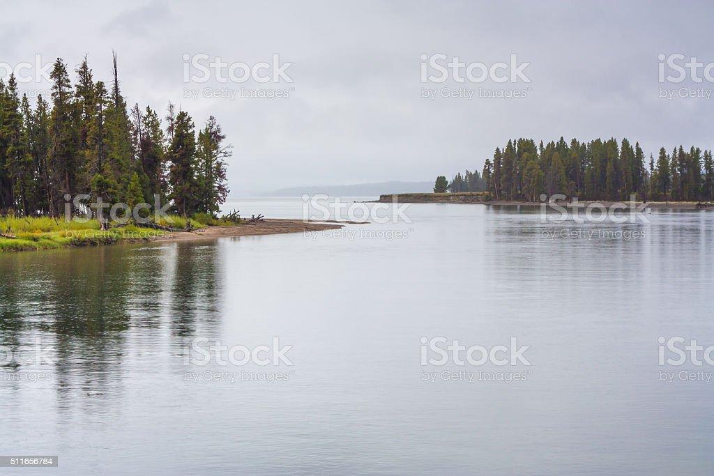 Raining at Yellowstone Lake stock photo