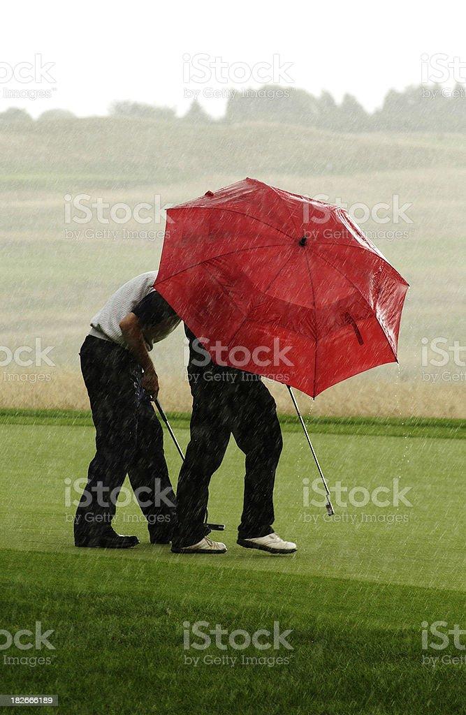 Raining Golf Umbrellas royalty-free stock photo