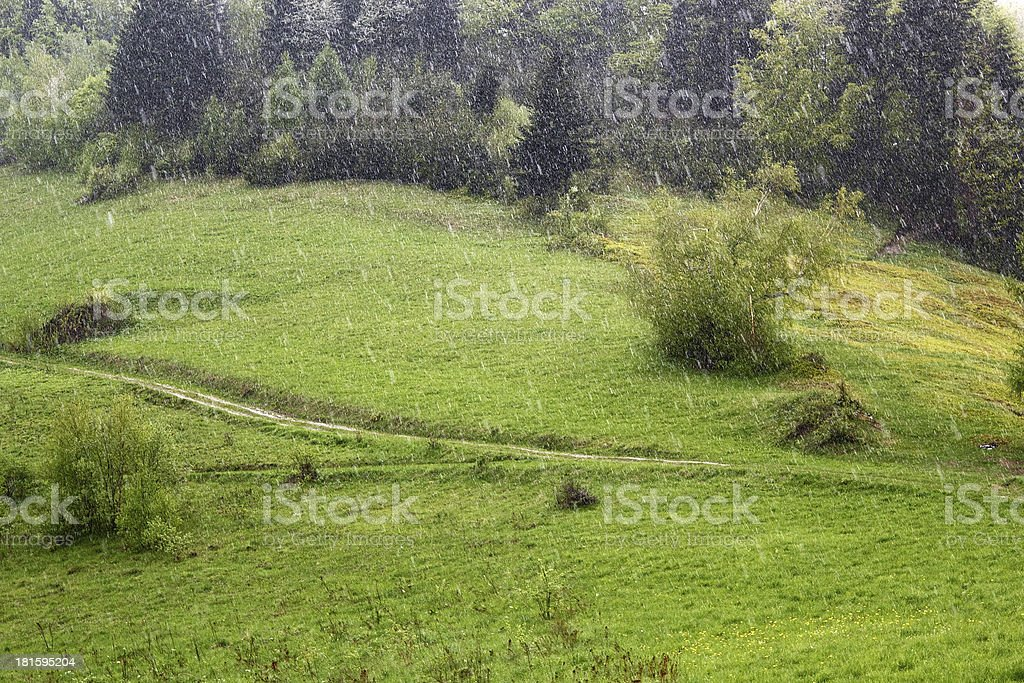 Raining in Mountains. Beskid, Poland. royalty-free stock photo