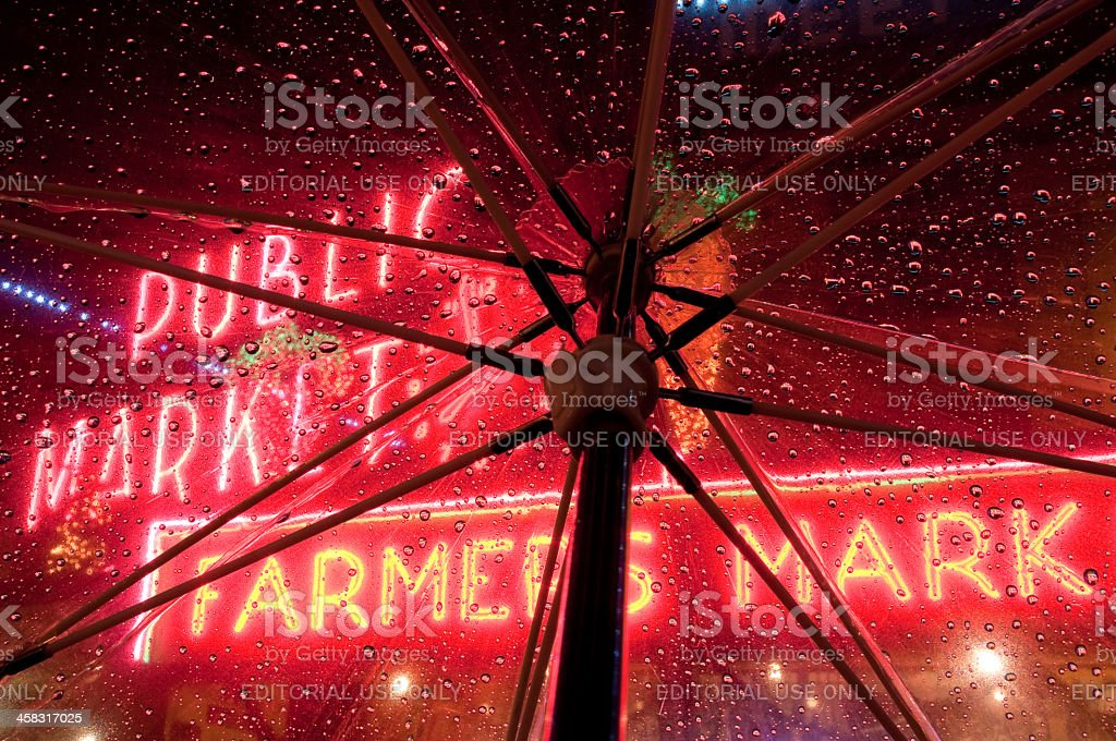 Raining in Pike Place Market stock photo