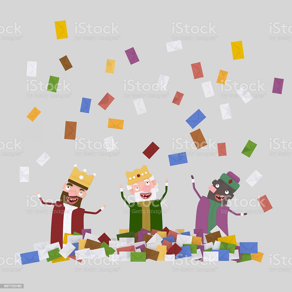 Raining letters over the three magic kings stock photo
