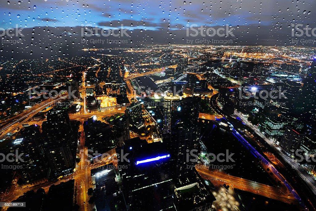 Raining Melbourne City Skyline stock photo