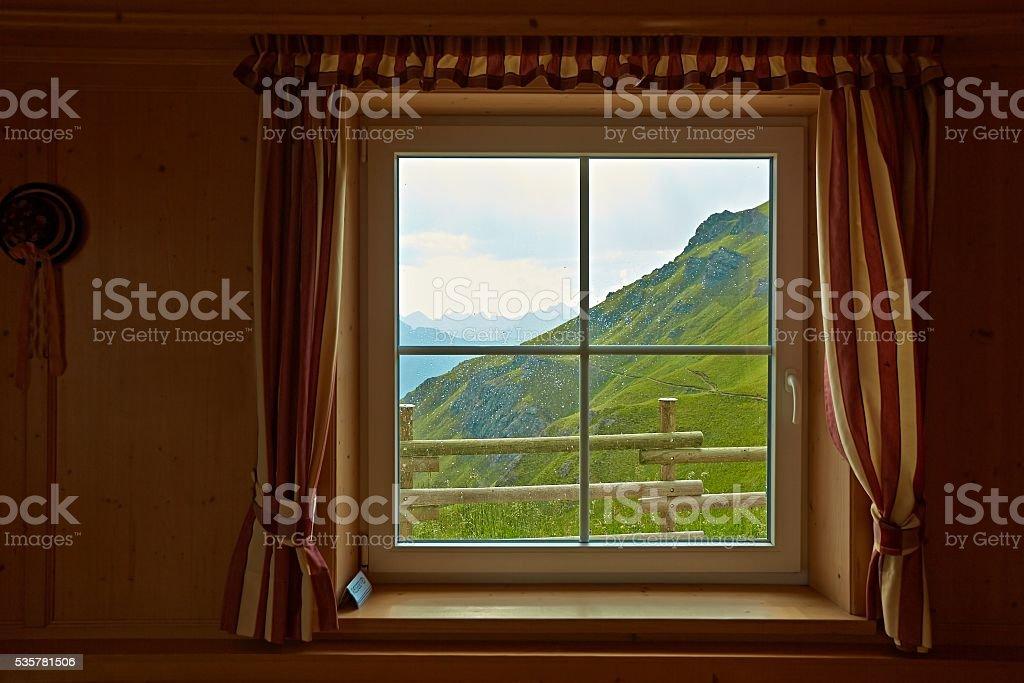 Raining outside the window stock photo