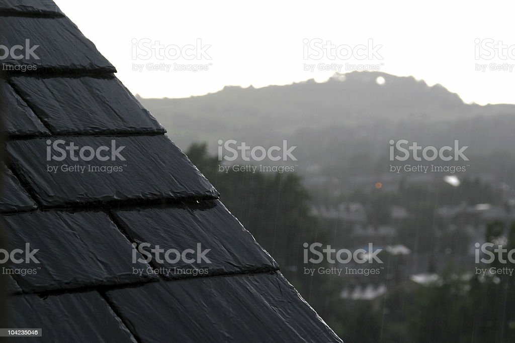 Raining over the town. stock photo
