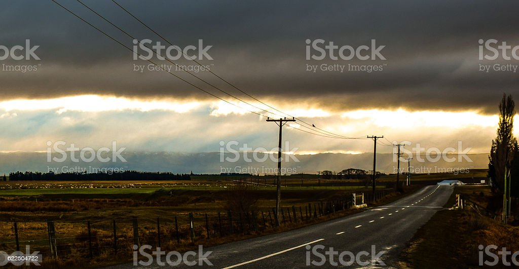 Rainning day on a rural region of New Zealand stock photo