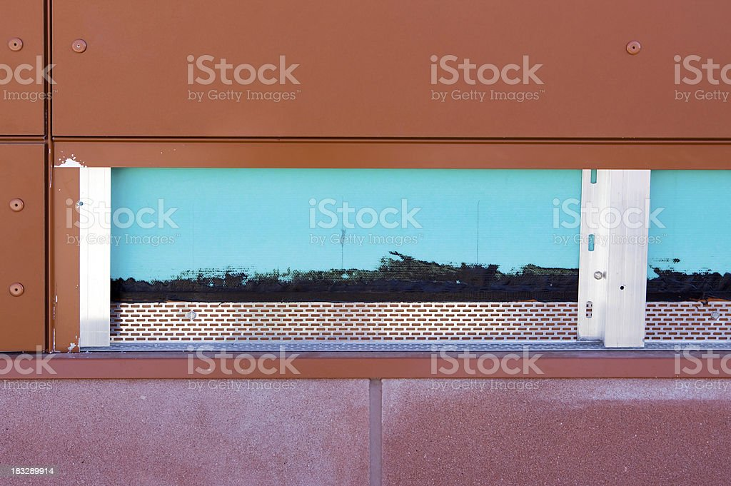 Rainscreen Cross Section at Commercial Construction Site stock photo