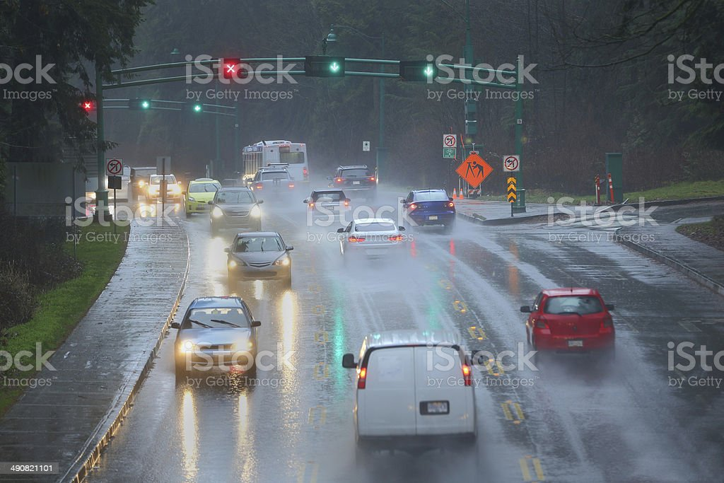 Rainstorm Commute stock photo