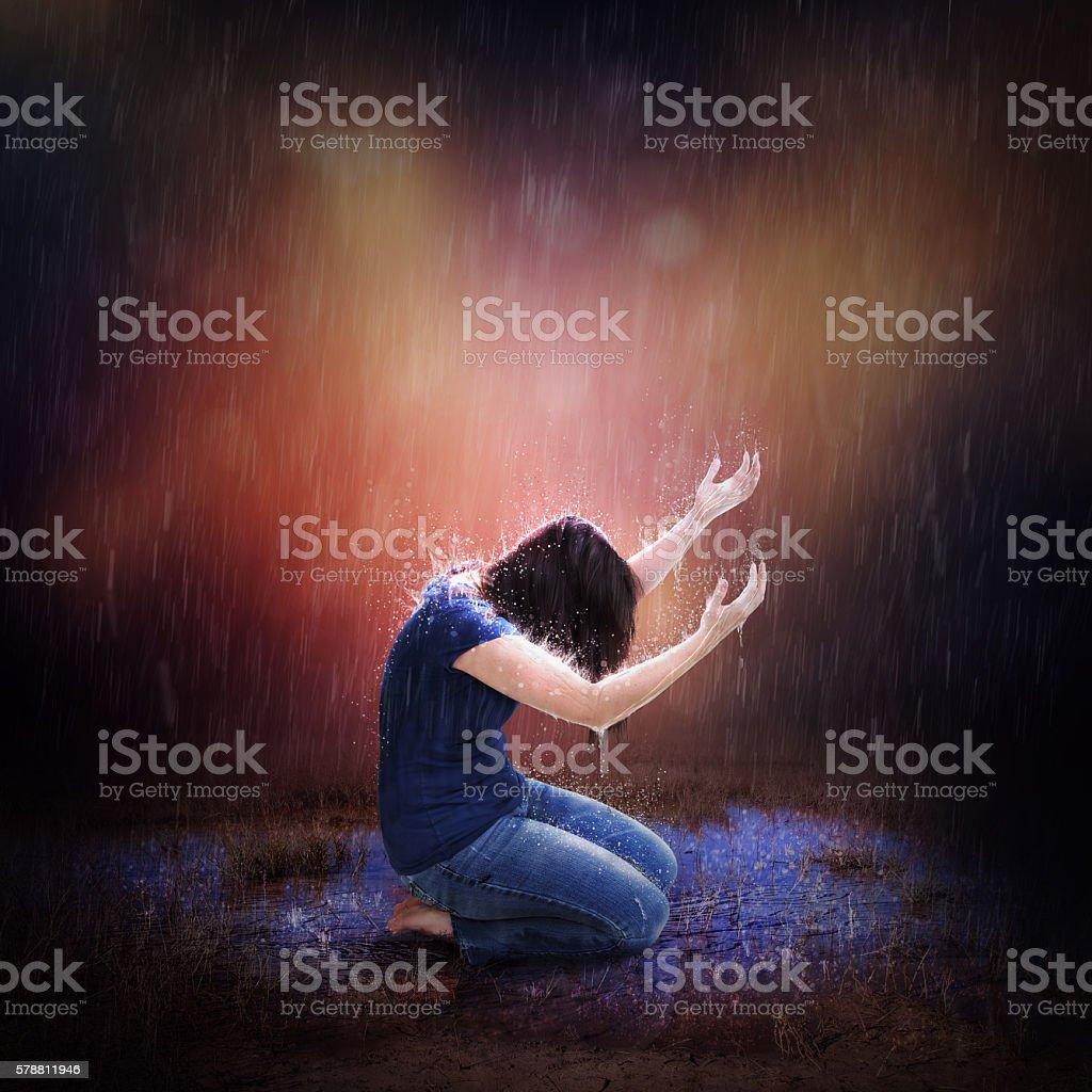 Rainstorm Prayer stock photo