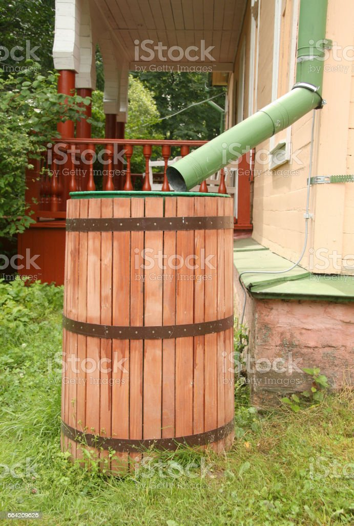 Rainwater Collection Barrel stock photo