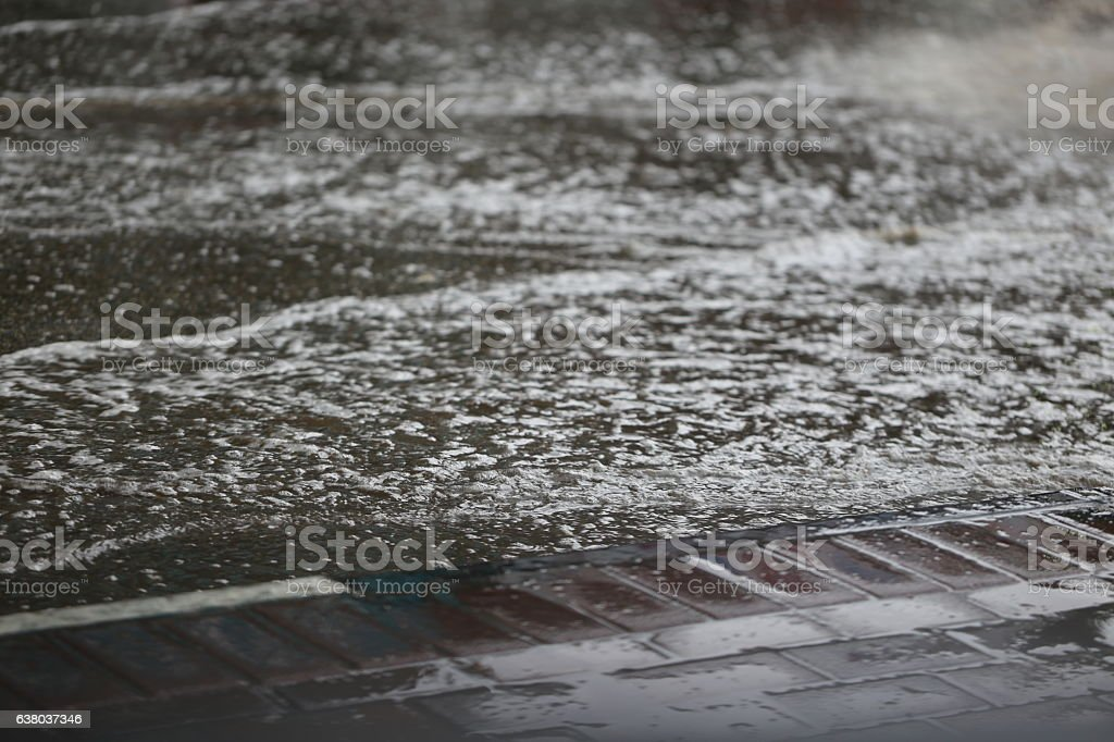 Rainwater Puddle On The Road stock photo
