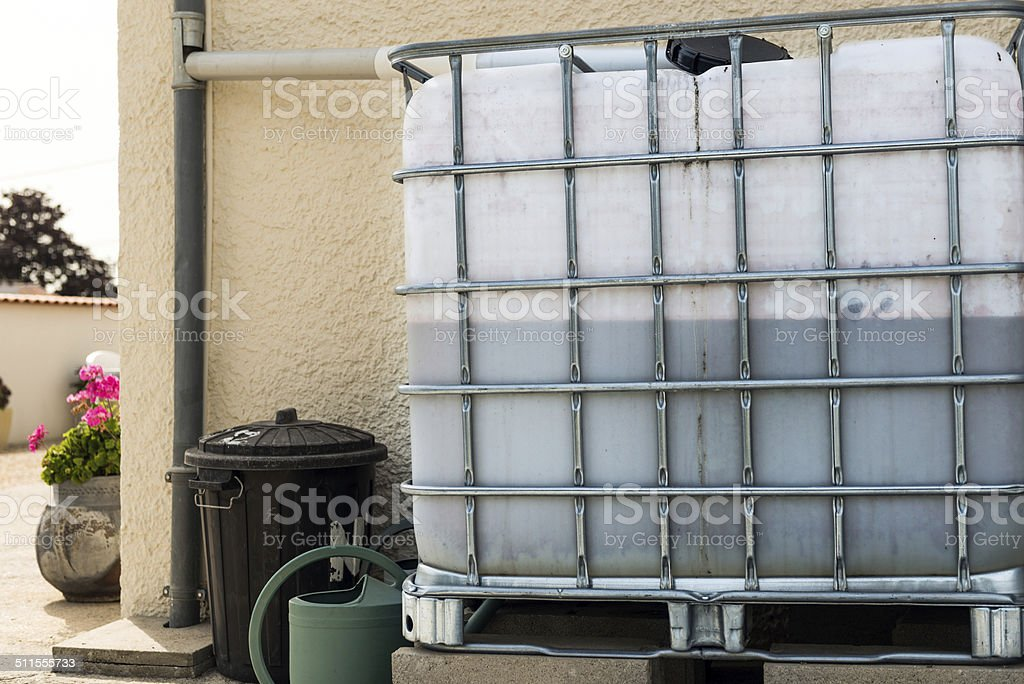 rainwater recuperator baril stock photo