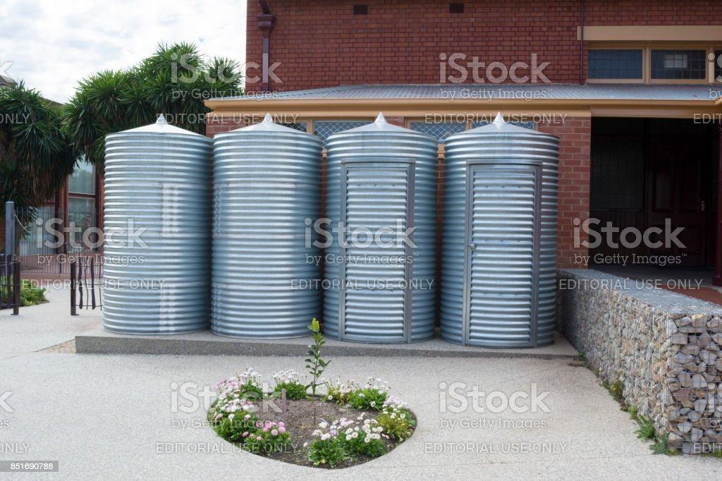 Rainwater Tanks and Storage Sheds, Goodman Building, Adelaide Botanic Garden stock photo