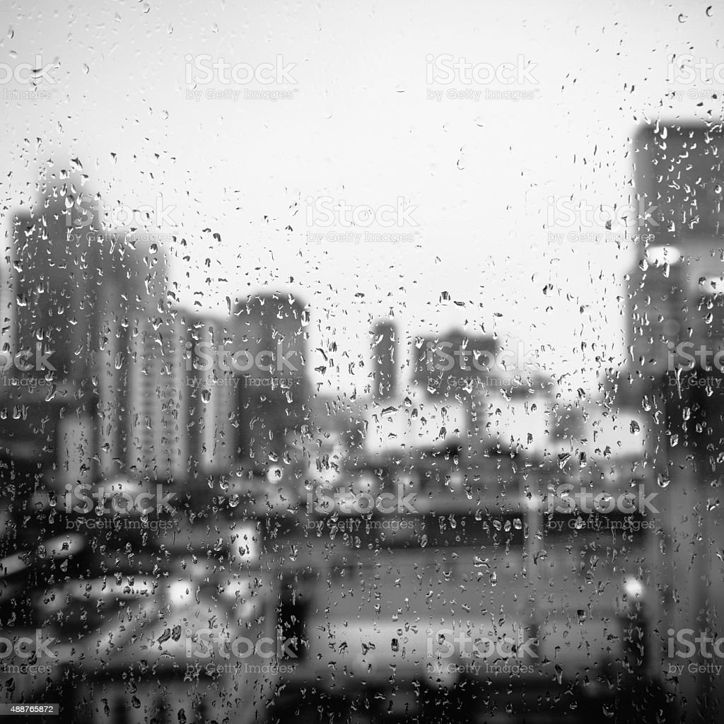 Rainy city in monochrome stock photo