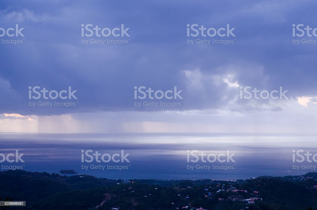 rainy coastal landscape stock photo