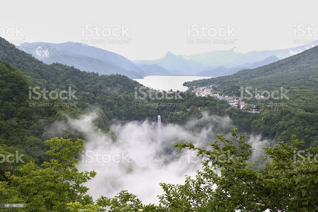 Rainy Colors seen from Japan. Its the waterfall very higher stock photo