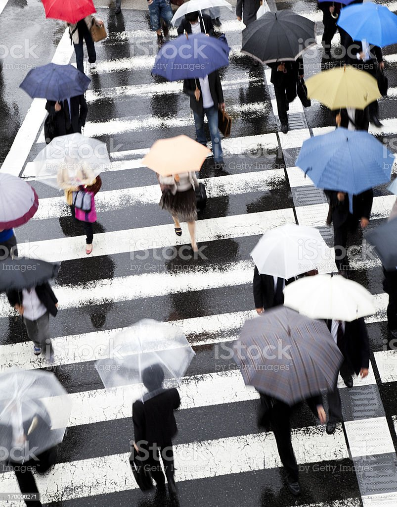 Rainy Commuters royalty-free stock photo