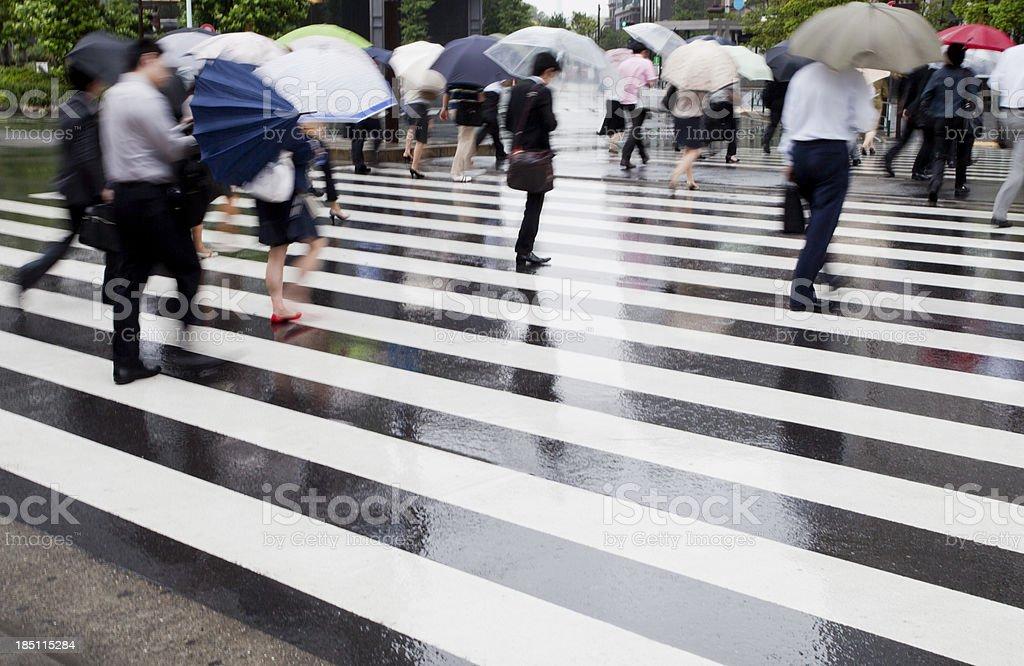Rainy Commuters royalty-free stock photo