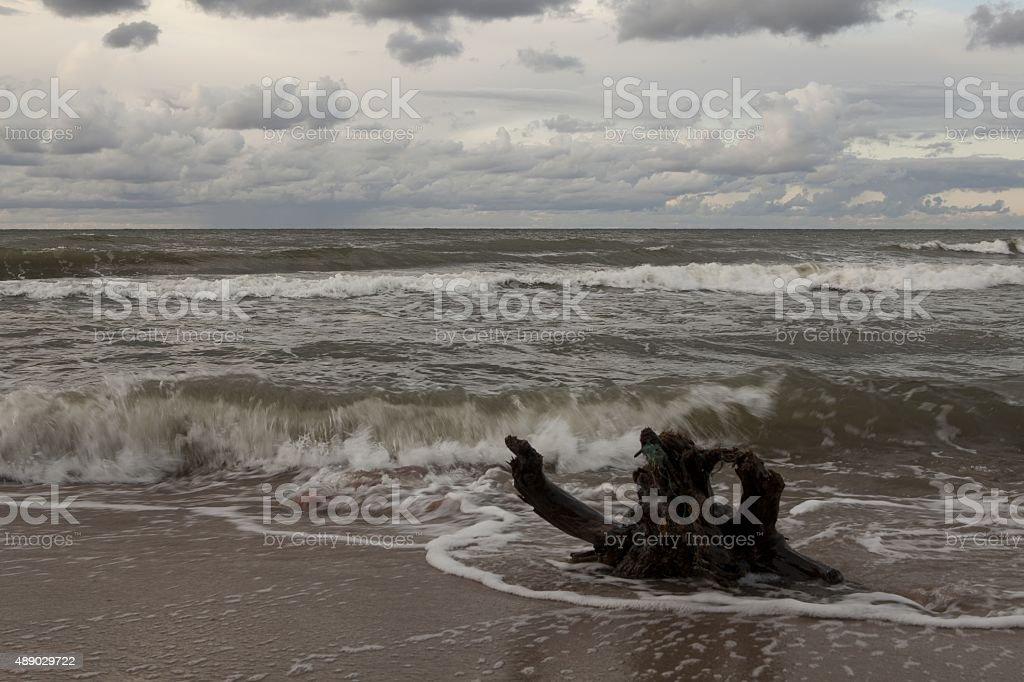 Rainy day at Baltic Sea stock photo