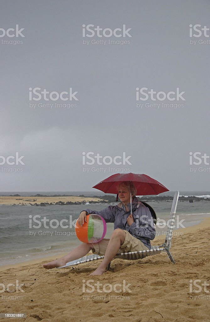 Rainy Day at the Beach royalty-free stock photo