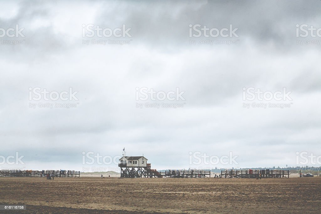 Rainy day at the ocean in Sankt Peter Ording stock photo