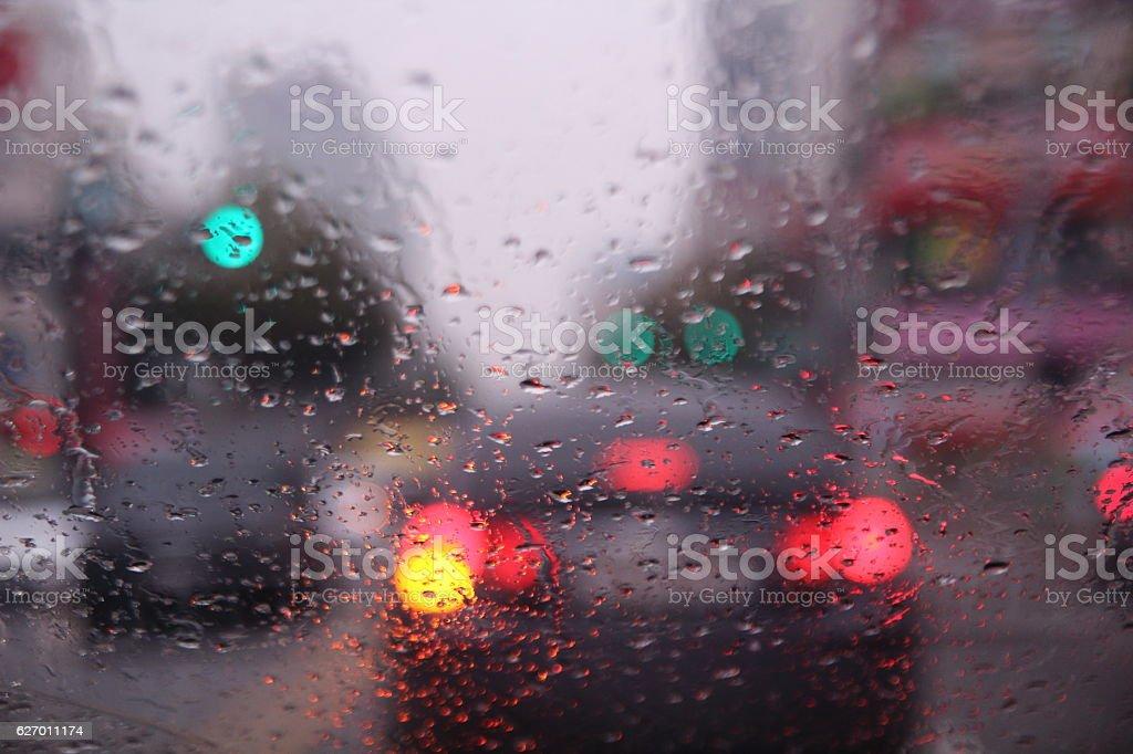 rainy day car window stock photo
