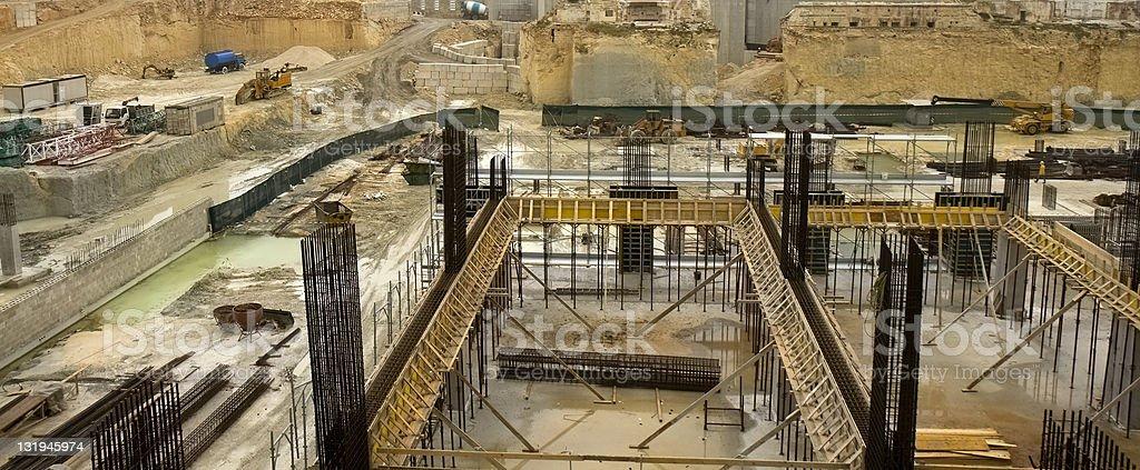 Rainy day construction site stock photo