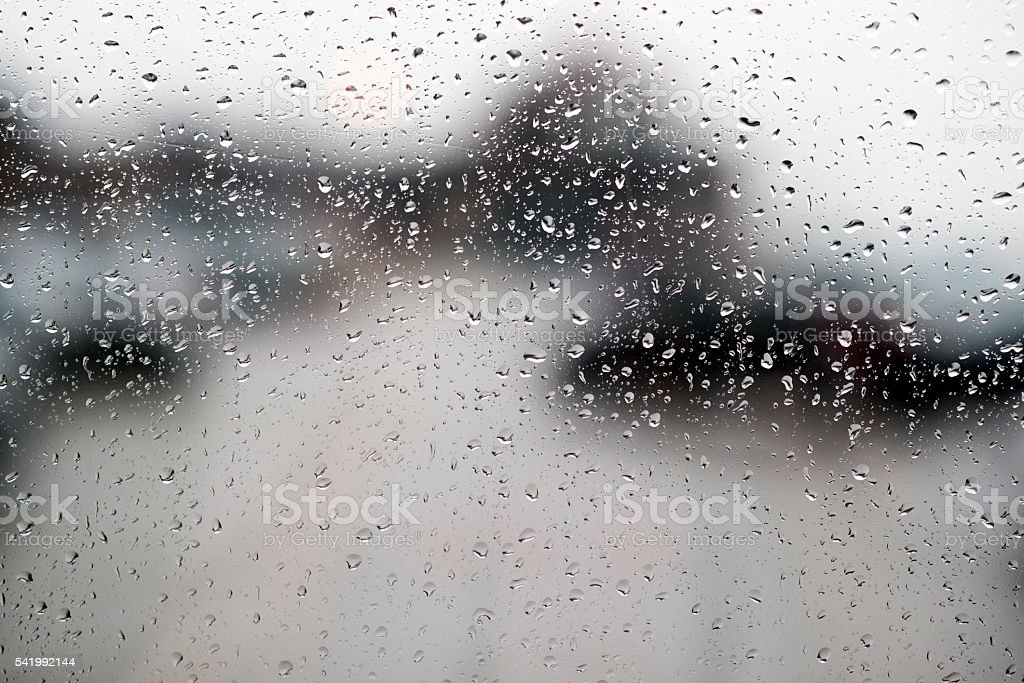 Rainy day, drops on the window. stock photo