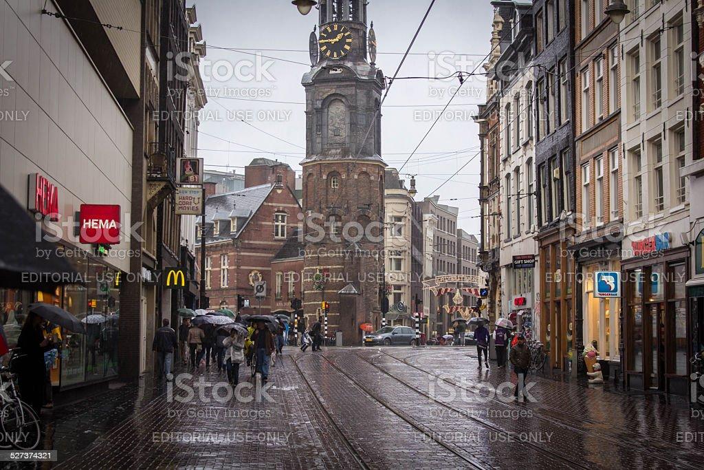 Rainy day in Amsterdam stock photo