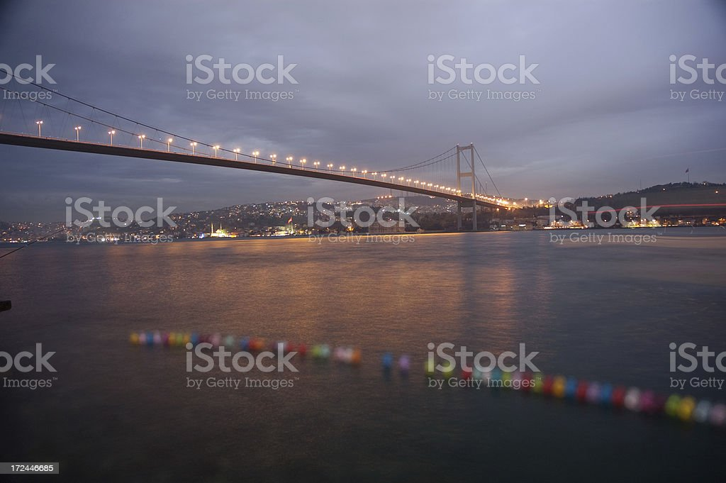 rainy day in istanbul bosphorus bridge royalty-free stock photo