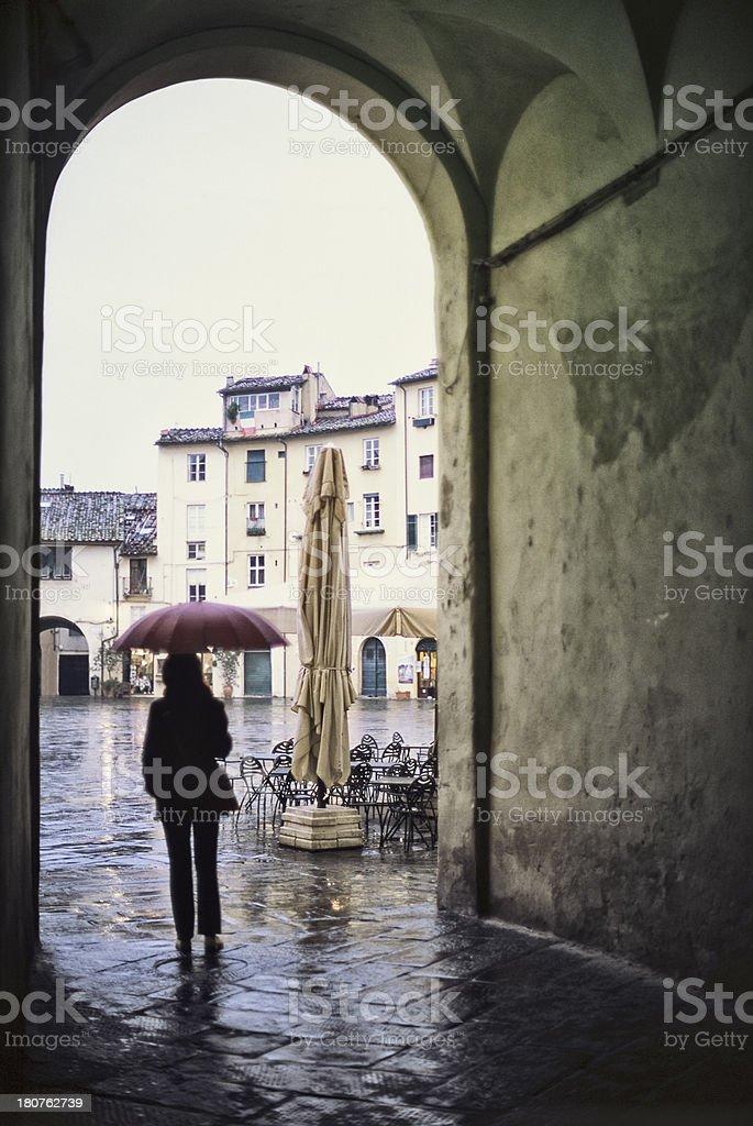 Rainy day in Lucca, Tuscany - Giornata piovosa sotto l'ombrello royalty-free stock photo