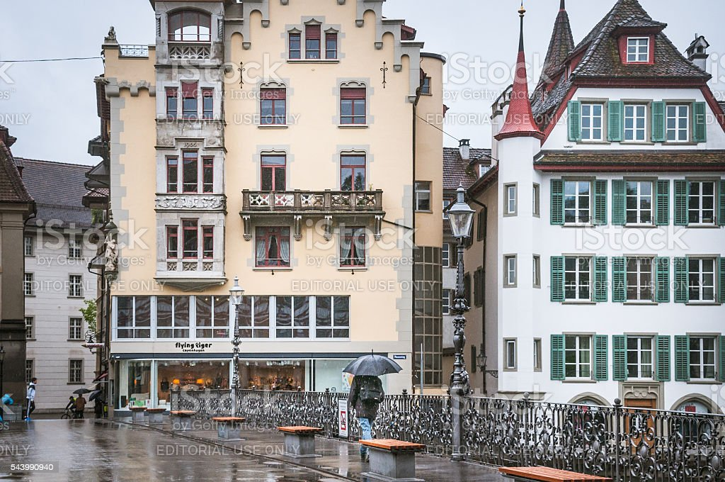 Rainy Day in Lucerne stock photo