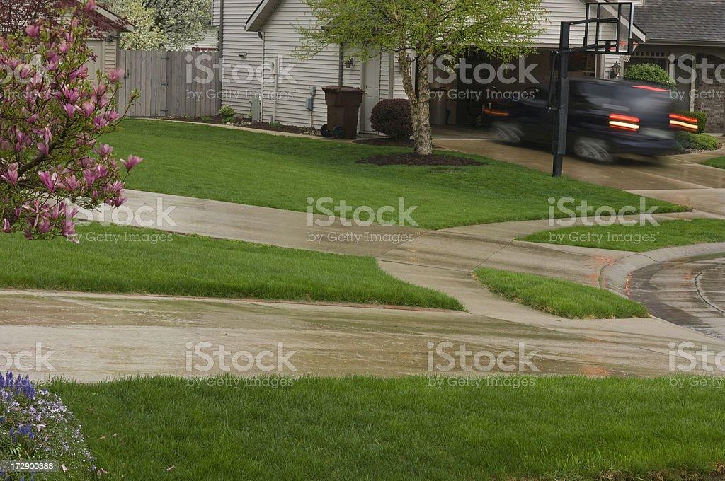 Rainy Day In The Suburbs stock photo
