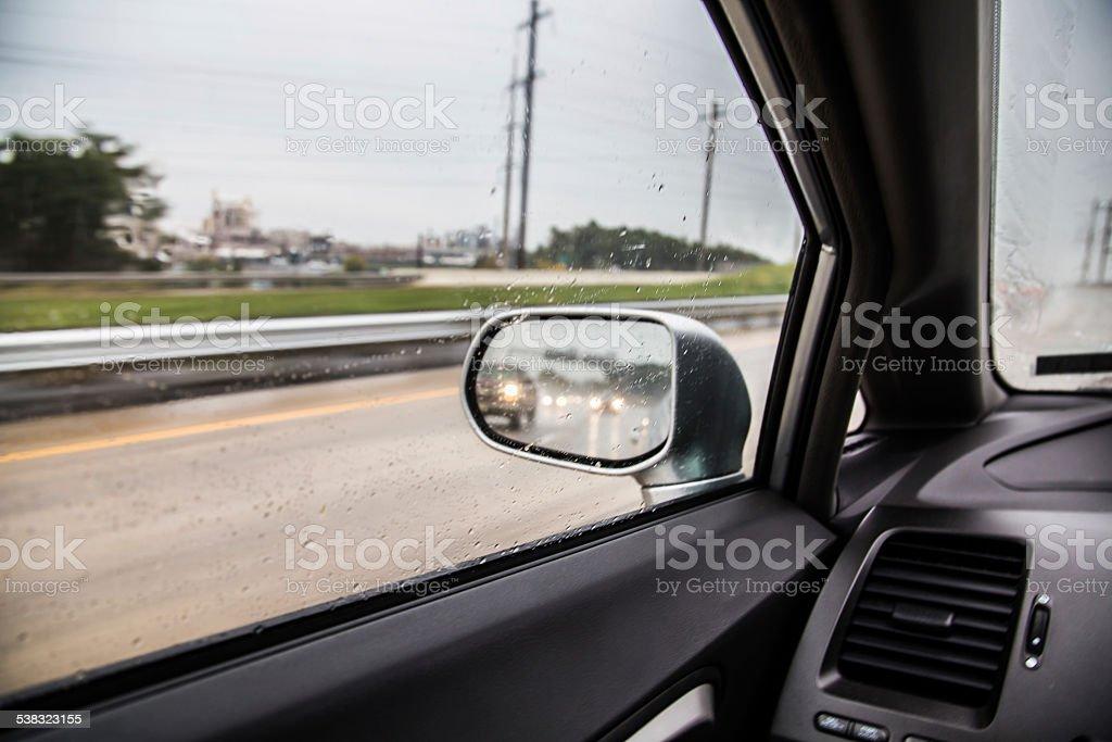 Rainy Day on Highway stock photo