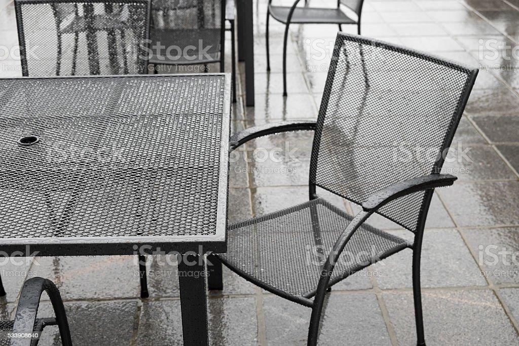 Rainy day on the patio stock photo
