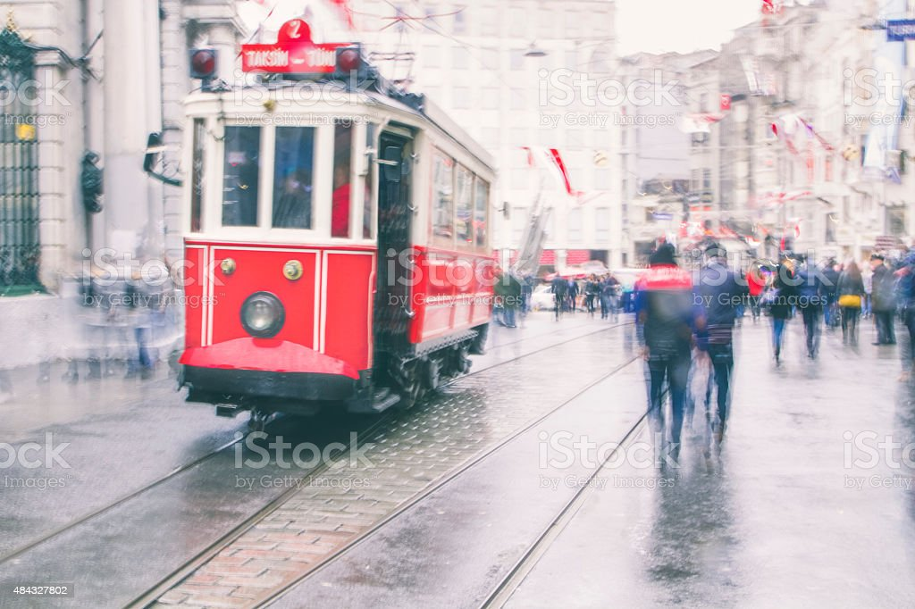 Rainy day on the streets of Istanbul stock photo