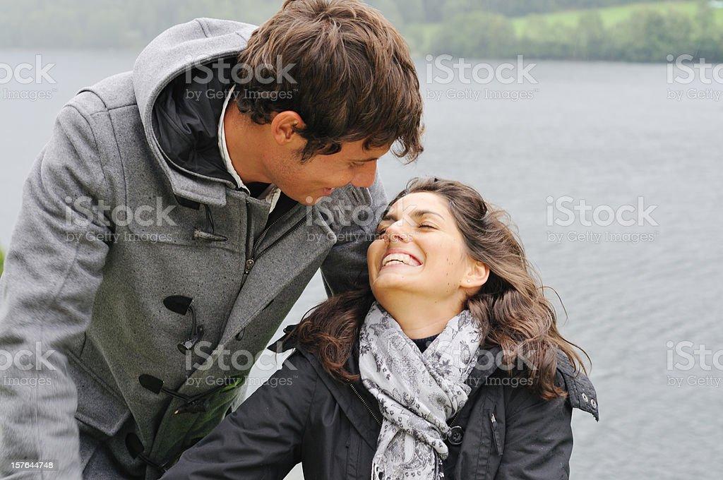 rainy day romance stock photo