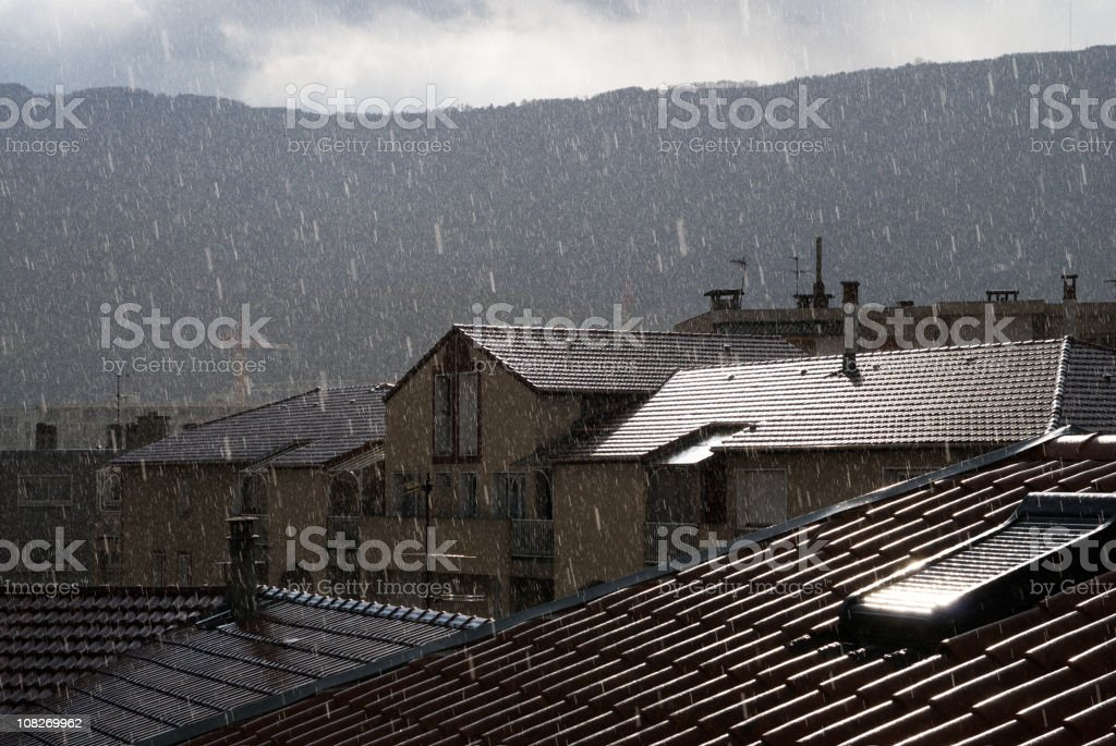 Rainy Day View on the Roof royalty-free stock photo