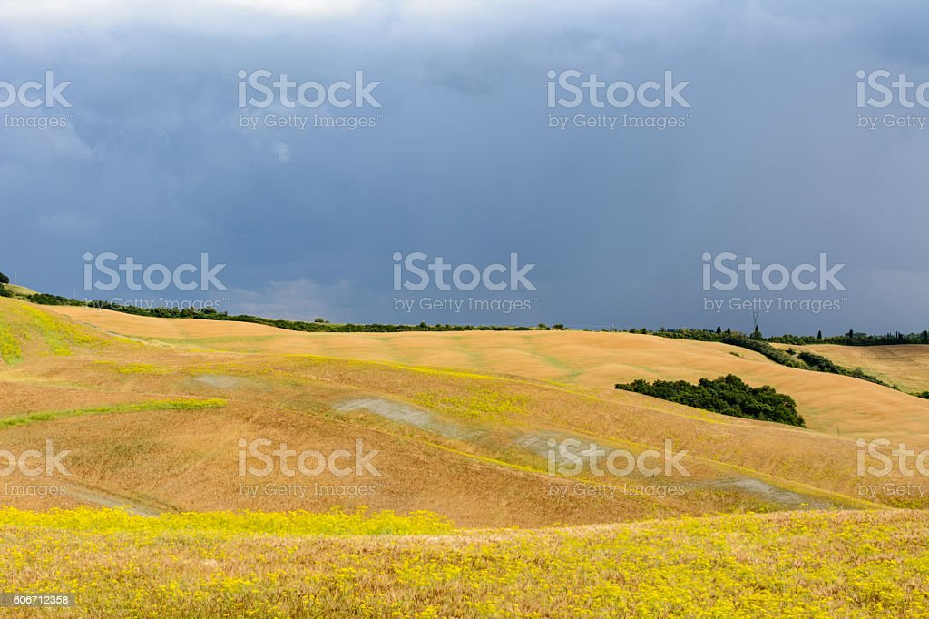 Rainy day with hills in a peaceful tuscan landscape stock photo