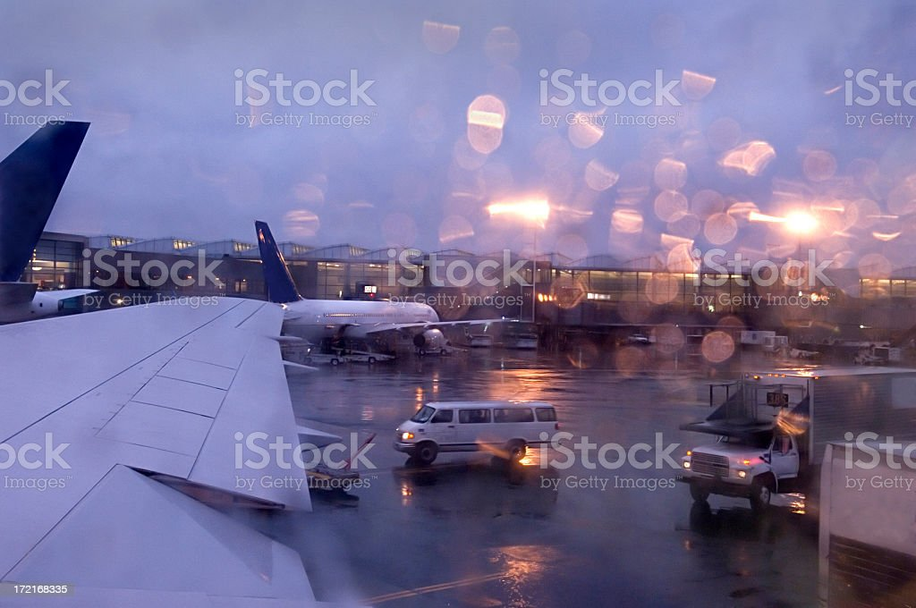 Rainy evening on the tarmac stock photo