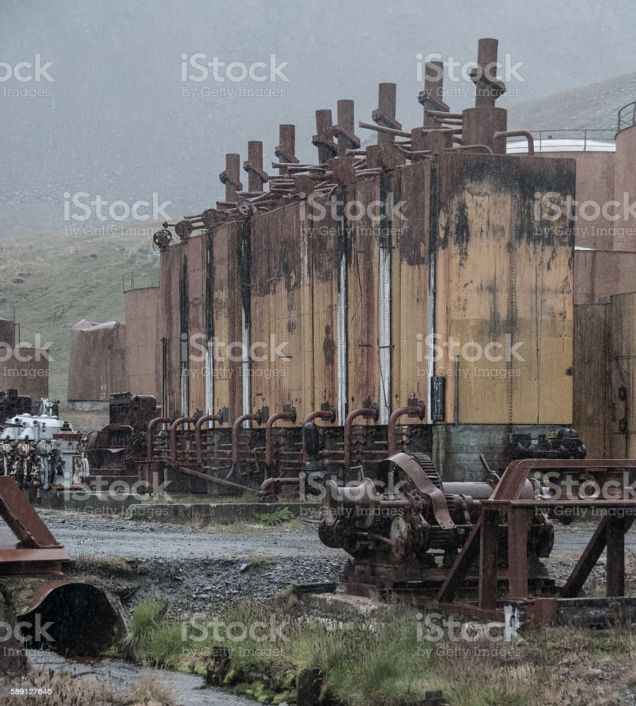 Rainy Grytvyken stock photo