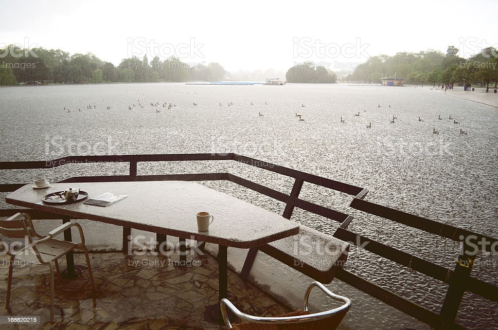 rainy lunch overlooking lake royalty-free stock photo