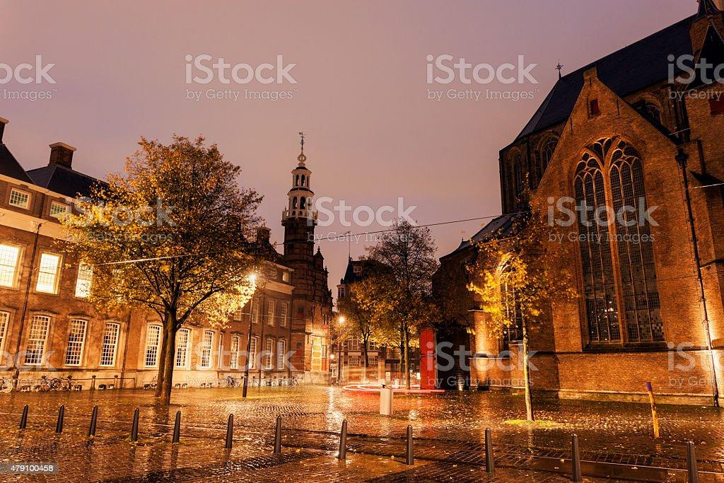 Rainy morning in Hague - Old City Hall stock photo