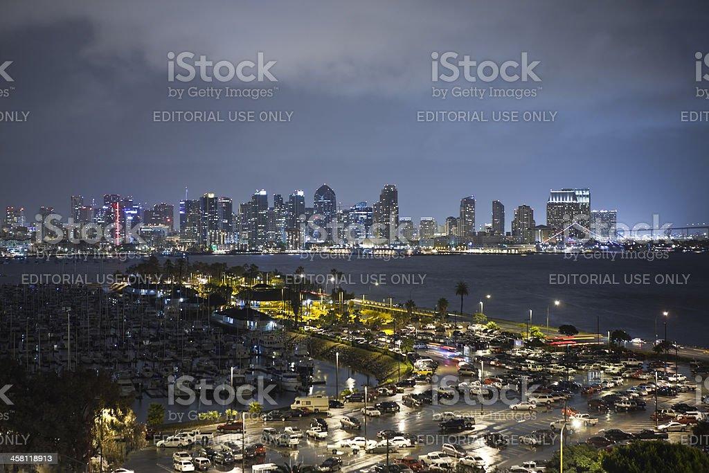 Rainy Night at San Diego Harbor royalty-free stock photo