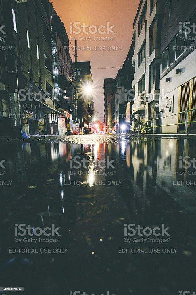 Rainy night in big city. stock photo