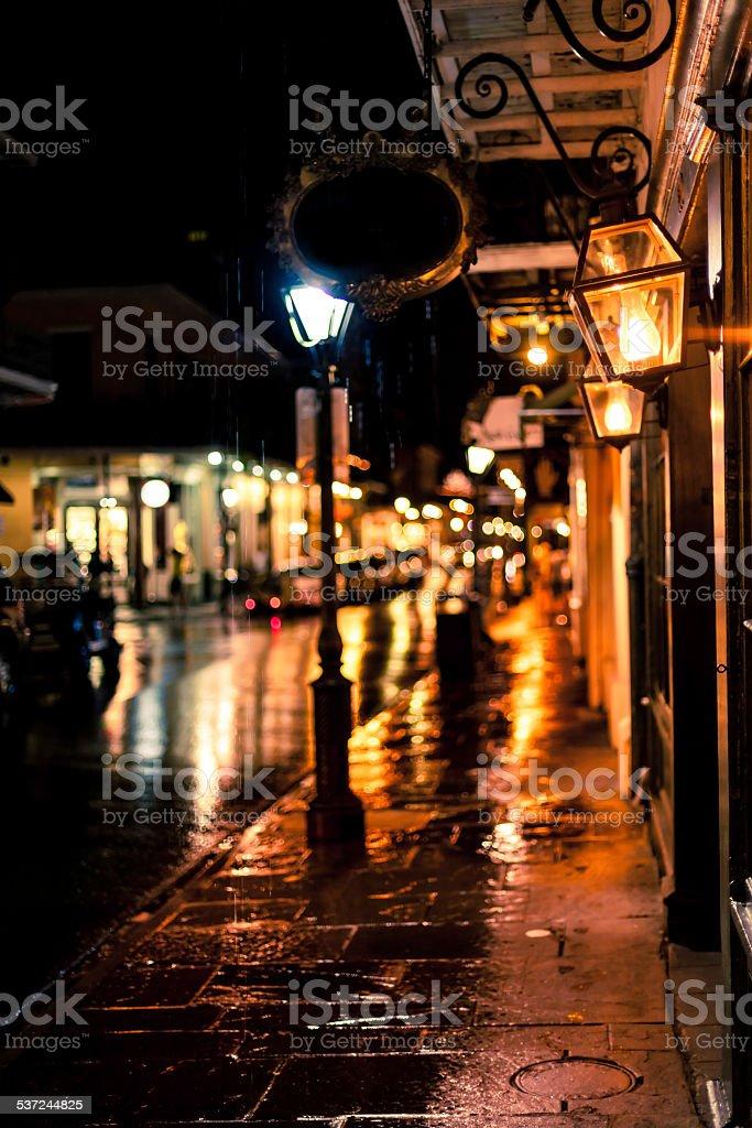 Rainy Night in Bourbon Street, New Orleans, Louisiana stock photo