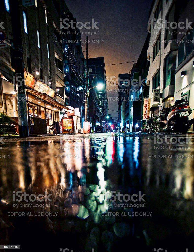 Rainy night in Tokyo stock photo