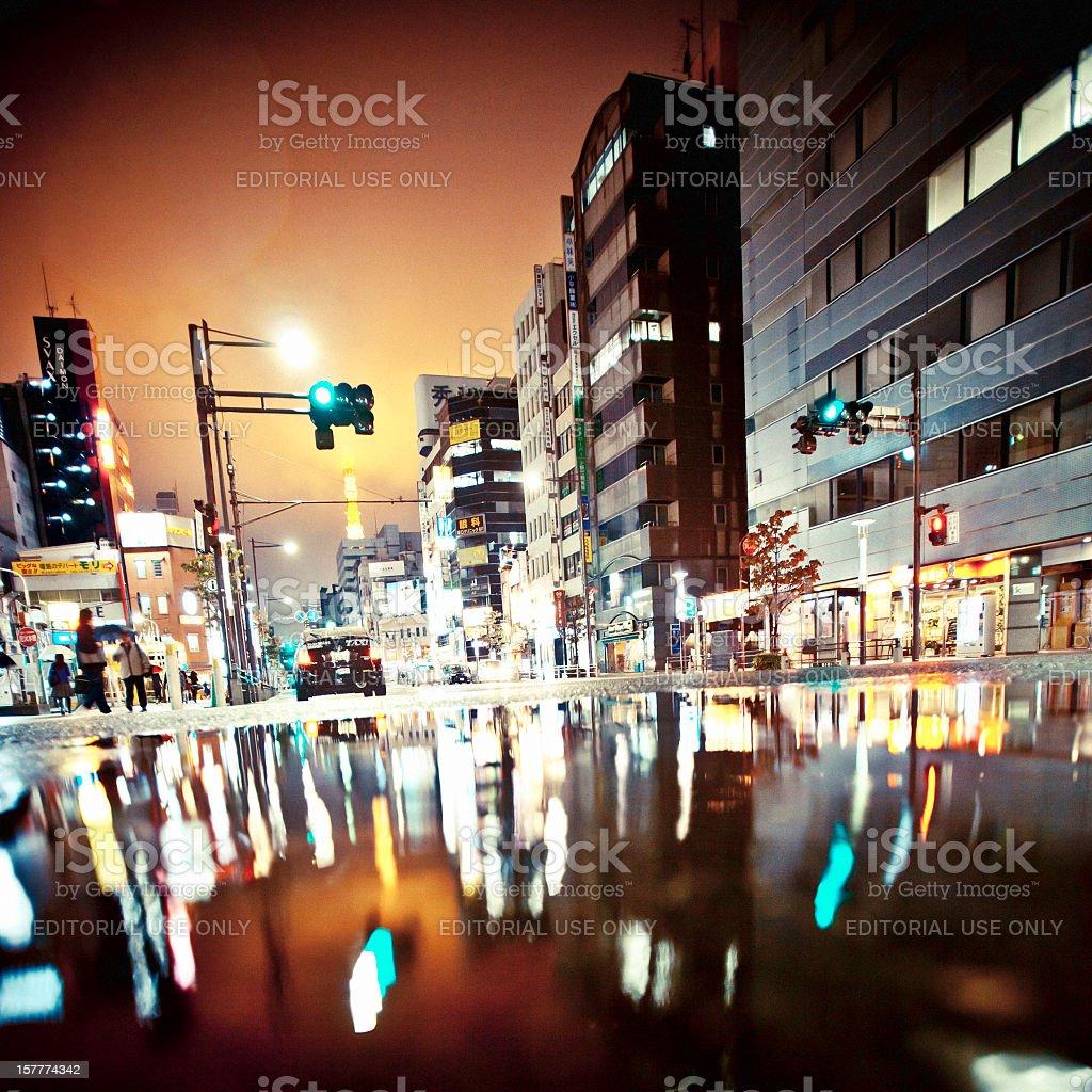 Rainy night in Tokyo. stock photo